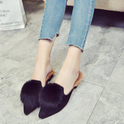 Fad Flat Bottomed Female Semi SlippersWomens Flats<br>Fad Flat Bottomed Female Semi Slippers<br><br>Available Size: 35.36.37.38.39<br>Closure Type: Slip-On<br>Embellishment: Appliques<br>Flat Type: Slingbacks<br>Gender: For Women<br>Occasion: Casual<br>Package Contents: 1 x shoes (pair)<br>Package size (L x W x H): 30.00 x 18.00 x 10.00 cm / 11.81 x 7.09 x 3.94 inches<br>Package weight: 0.3000 kg<br>Pattern Type: Patchwork<br>Season: Winter<br>Toe Shape: Pointed Toe<br>Toe Style: Open Toe<br>Upper Material: Flock