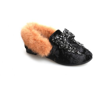 Buy BLACK 35 Rabbit Hair Soft Bottom Flat Shoes Comfortable for $32.38 in GearBest store