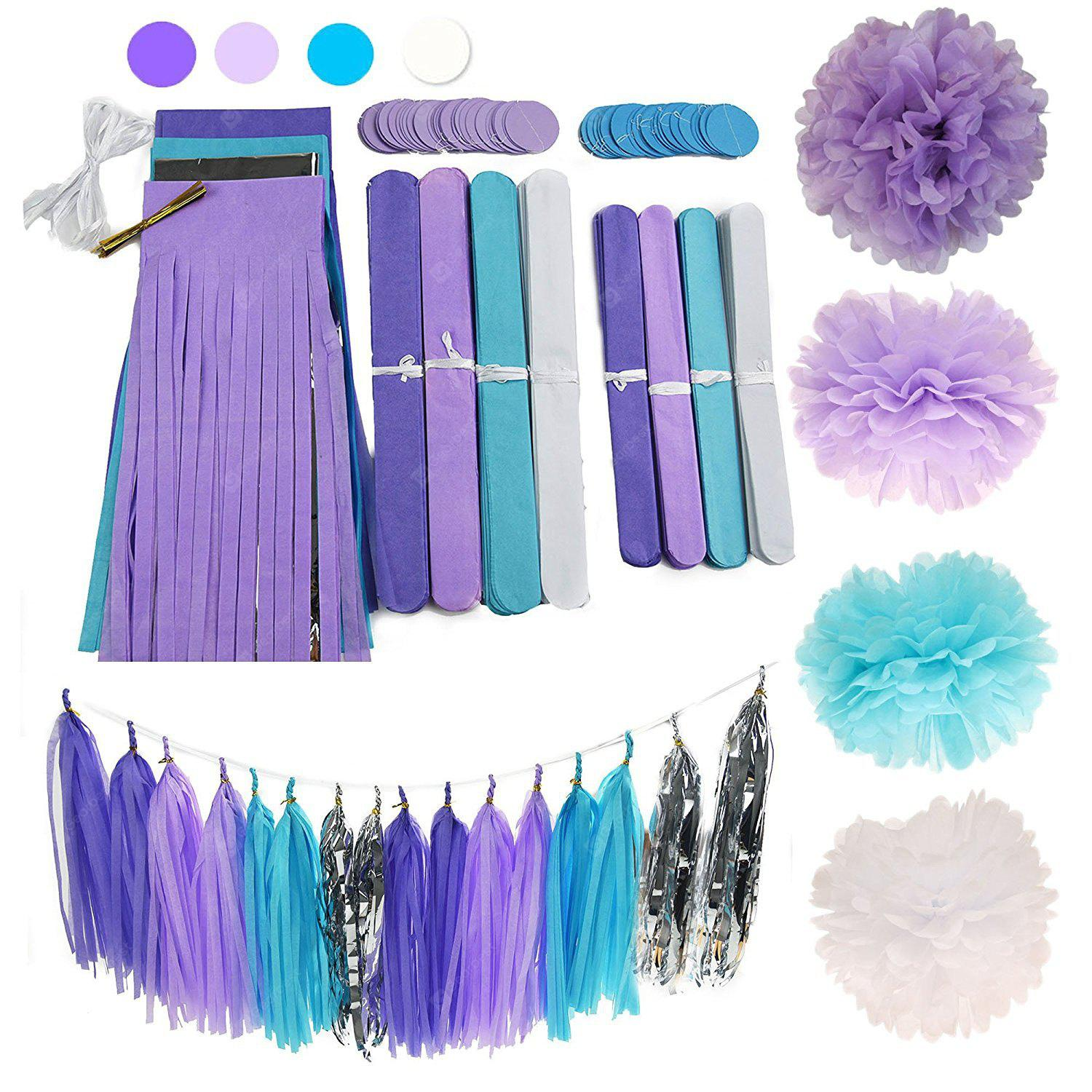 Tissue Paper Pom Pom Paper Tassel Garland First Birthday Decorations