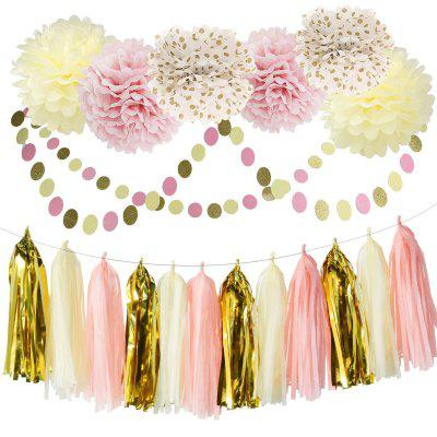 Bridal shower decorations pink cream glitter gold tissue for Pink and gold bathroom decor