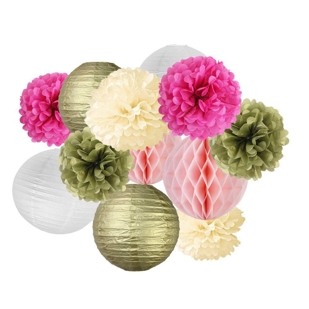 12pcs Tissue Paper Pom Pom Flowers Paper Lanterns For Wedding
