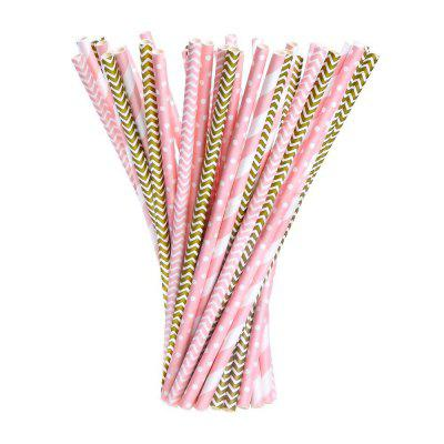 100pcs Paper Straws Drinking Decoration Straw for Birthday, Wedding, Christmas, Celebration Parties(Gold and Pink)