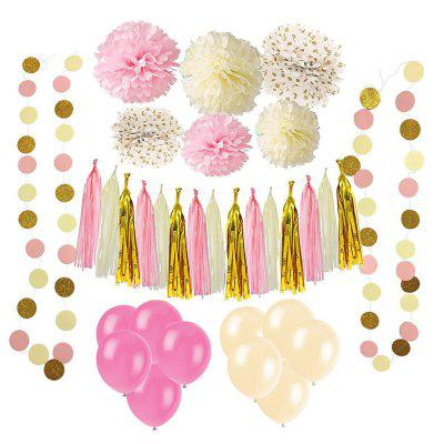 33 Pcs Paper Pom Poms Flowers Tissue Balloon Tassel Garland Polka Dot Paper Garland Kit for Birthday Wedding Party Decorations