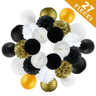 27 pcsgold black white tissue paper pompom and balloons birthday party decoration kit for adults women girls anniversary engagement wedding celebration Christmas baby and bridal shower