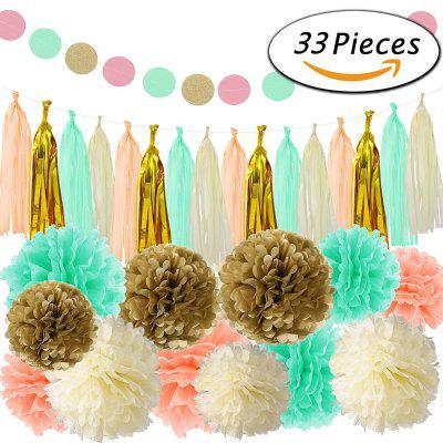 33pcs tissue paper pom poms paper flowers tassel garland for baby 33pcs tissue paper pom poms paper flowers tassel garland for baby shower birthday party home decorations mightylinksfo