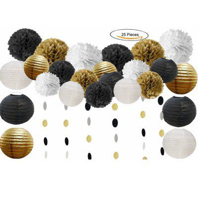 25pcs Tissue Pom Poms Paper Flowers Paper Lanterns Circle Dot Garland Hanging for Birthday Party Decoration Home Decor