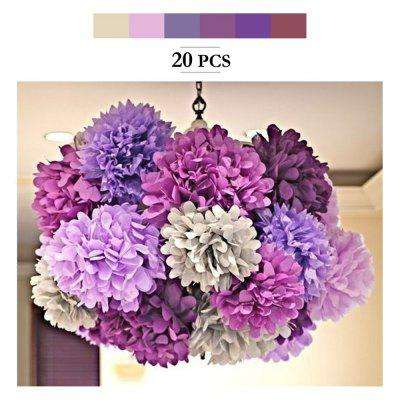 20pcs Tissue Paper Pom Poms Paper Flowers Garland for Engagement Wedding Party Xmas Decoration (Purple Shades Set)