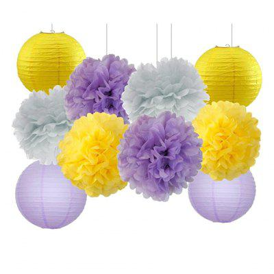 EASTERN HOPE 10 Pcs Tissue Paper Pom Pom Paper Lanterns for Lavender Themed Party Bridal Shower Decor Baby Shower Decoration