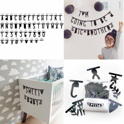 EASTERN HOPE 143 PCS Creative Black Alphabet Diy Letter Wall Decal Tissue Paper for Kid Room Decoration Home Decor