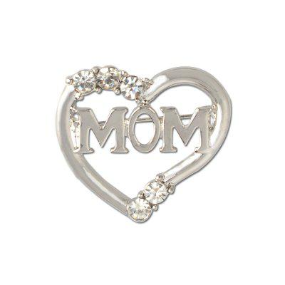 Simple Fashion Personality Alloy Rhinestones Heart Mom Brooch Suit Sweater Shawl Buckle Mother's Day Jewelry