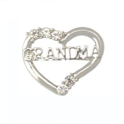 New Silver Plated Heart Love MOM Brooch Vintage Brooches for Women Ladies Dress Collar Brosche Costume Mother Day Gifts