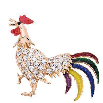Enamel Esmalte Animal Brooches For Women Colorful Feather Rooster Brooch Cock Hen Suit Lapel Pins