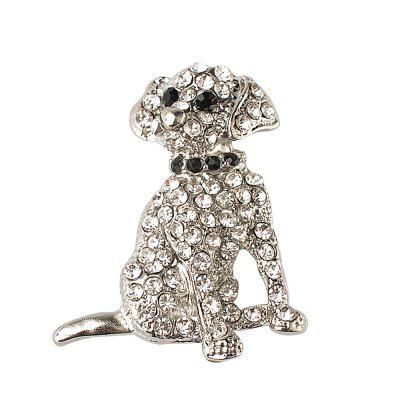 Rhinestone Dog Brooch For Women pins Cute Funny gift crystal brooches jewelry Animal brooch cute black dog silver plated