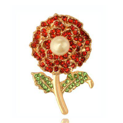 Simulated-pearl Elegant Carnations Brooches for Women Silver plated Rhinestones Brooch