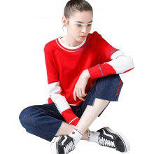 Toyouth Women's T-Shirts Casual Cotton Long Letter Patchwork O-Neck Top