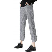 Toyouth Trousers Elegant Black And White Plaid Pattern Office Lady Style Split Ankle-Length Pants