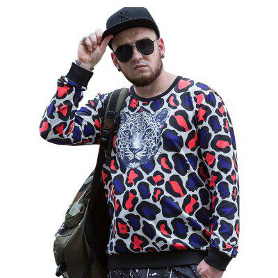 Round Neck Large Size New Young Leopard Head Printing  Men'S SweatshirtPCW70063C