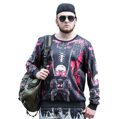 2017 Autumn and Winter New Cross-Border Loose Personality Tide Brand Printing Large Size Men'S Sweatshirt PCW70064B