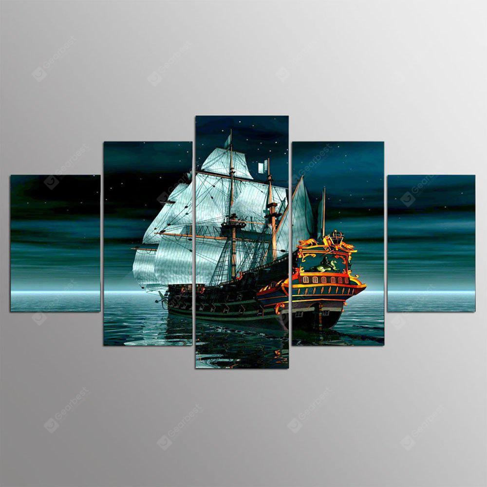 YSDAFEN 5 Panel Hd Modern Ship Canvas Art for Living Room Wall Picture