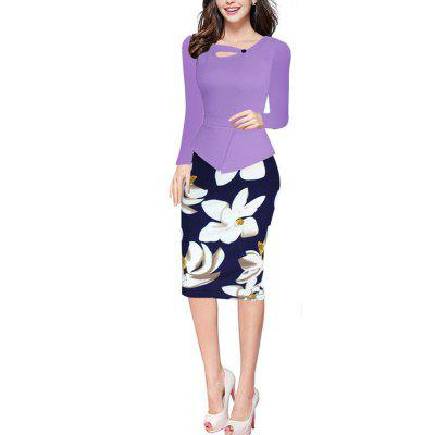 Buy PURPLE M Elegant Women Long Sleeve Vintage Floral Print Autumn Patchwork Working wear Casual Pencil Office Bodycon Dress for $25.39 in GearBest store