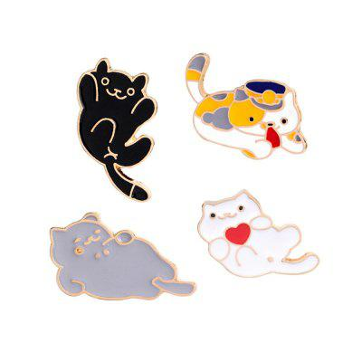 4Pcs Women's Brooches Color Block Lovely Cat Shaped All Match Chic Brooch Accessory