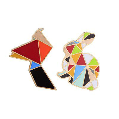 2Pcs Women's Brooches  Color Block Animal Shaped All Match Creative Brooch Accessory