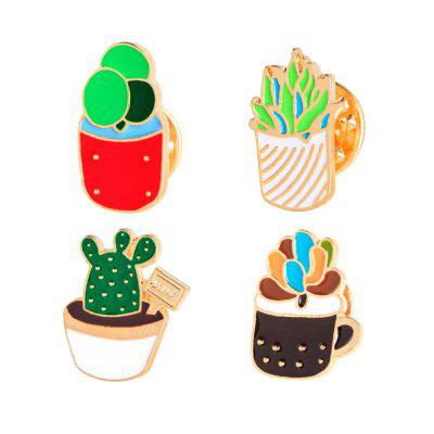 4Pcs Women's Brooches  Color Block Cartoon Plant Shaped All Match Brooch Accessory