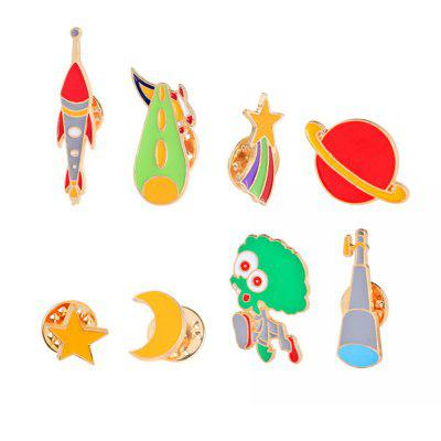8Pcs Women's Brooches  Color Block Creative Shaped All Match Chic Brooch Accessory