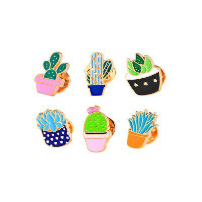 6 Pcs Women's Brooches Plants Design Color Block Fresh Style Trendy Accessory