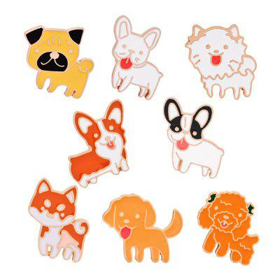 8Pcs Women's Brooches  Lovely Dogs Shaped All Match Stylish Brooch Accessory