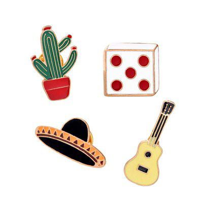 4Pcs Women's Brooches  Color Block Cartoon Shaped All Matched Alloy Accessory