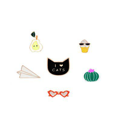 6Pcs Women's Brooches Color Block Cartoon Shaped Design Alloy Brooch Accessory