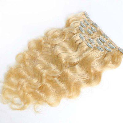 Body Wave Chinese Remy Hair Light Blonde 613 Full Head Natural 7 Pieces Clip In Human Hair Extensions RC954