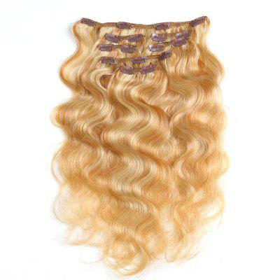 Body Wave Chinese Remy Hair Piano Color Full Head Natural 7 pieces Clip In Human Hair Extensions RC957