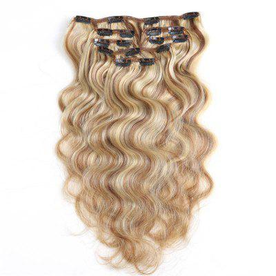 Body Wave Chinese Remy Hair Light Blonde 613 Full Head Natural 7 pieces Clip In Human Hair Extensions RC956