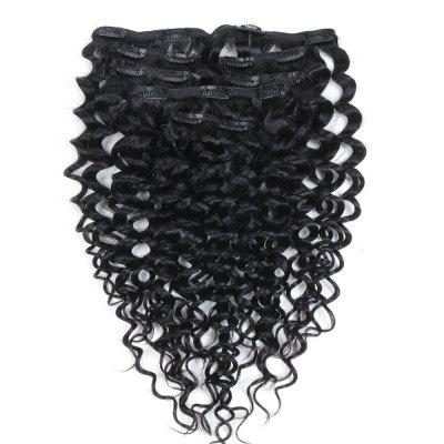 Afro Kinky Curly 7 PCS Clip In Human Hair Extensions Basic Color RC0970