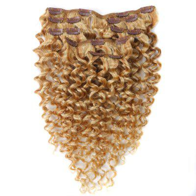 Afro Kinky Curly 7 PCS Clip In Human Hair Extensions P-Mix Colors RC0970