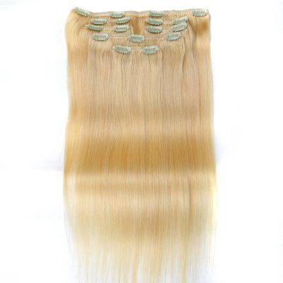 Straight Chinese Remy Light Blonde Hair Full Head Natural 7 pieces Clip In Human Hair Extensions RC805