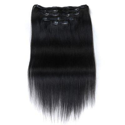 Straight Chinese Remy Black Hair Full Head Natural 7 pieces Clip In Human Hair Extensions RC0916