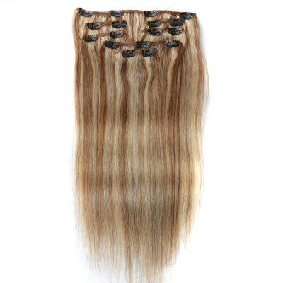 Straight Chinese Remy Piano Color Hair Full Head Natural 7 pieces Clip In Human Hair Extensions RC0955