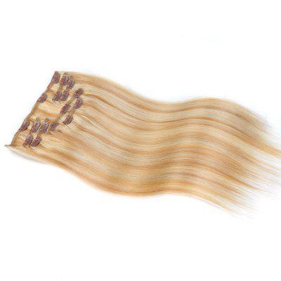 Straight Chinese Remy Piano Color Hair Full Head Natural 7 pieces Clip In Human Hair Extensions RC953