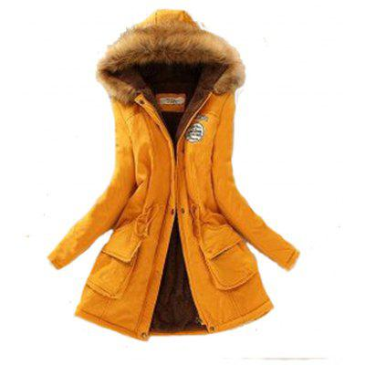 Winter Women'S Thickening Coat Plus Size Hooded Medium Long Collars Cotton-padded Clothes