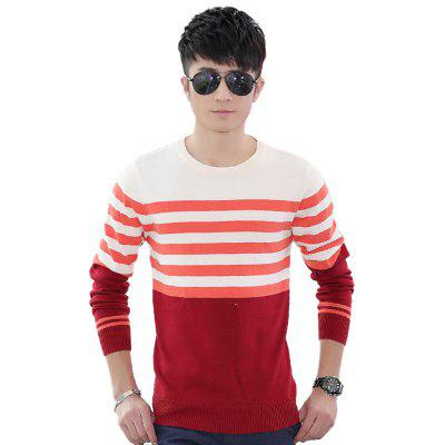 Buy ORANGE RED XL Men'S Winter Warm Knitted Sweater Casual Pullover Round Neck Long Sleeve Slim Top for $45.00 in GearBest store
