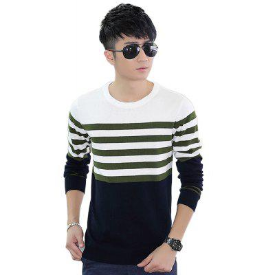 Buy DARK GREEN L Men'S Winter Warm Knitted Sweater Casual Pullover Round Neck Long Sleeve Slim Top for $37.46 in GearBest store