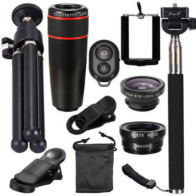 Telescope Telephoto Wide-Angle Macro Fisheye Lens Since The Shaft Tripod 10 in 1 Suit
