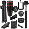 Telescope Telephoto Wide-Angle Macro Fisheye Lens Since The Shaft Tripod 10 in 1 Suit - BLACK