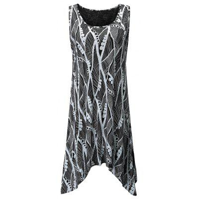 Buy BLACK L Irregular Round Collar Printing Sleeveless T-Shirt for $22.66 in GearBest store