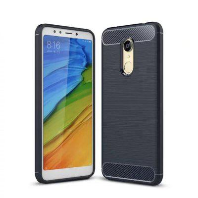 Cover Case for Redmi 5 Plus Shockproof Carbon Fiber TPU Drawing Material Phone