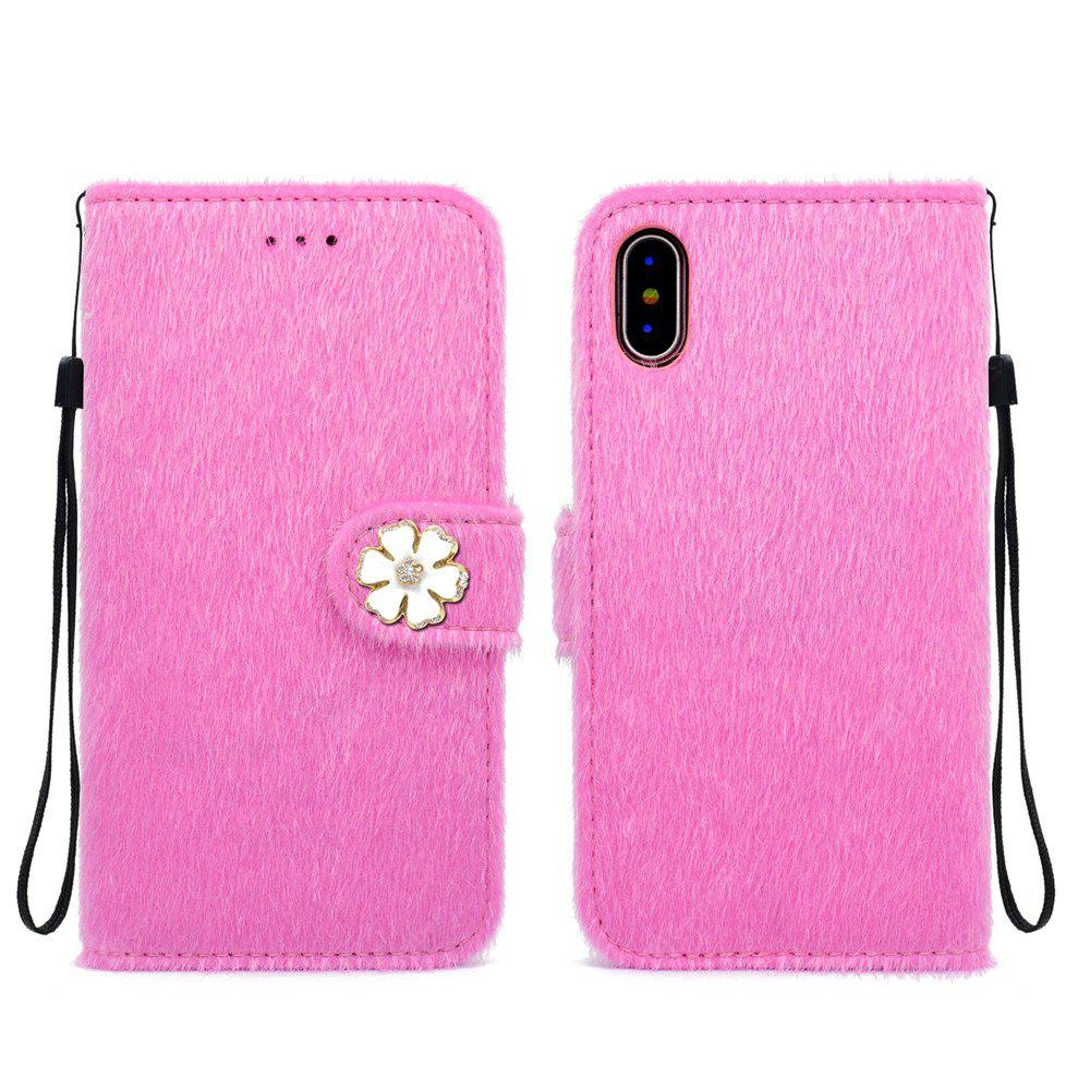 Housse de protection pour iPhone X Horsehair Six disques Package Money Card Flip Holster de téléphone