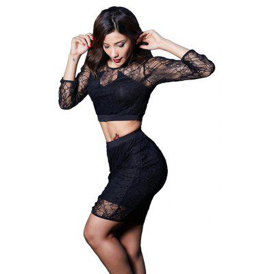 Hollow Lace Black Two-Piece Skirt SuitBodycon Dresses<br>Hollow Lace Black Two-Piece Skirt Suit<br><br>Dresses Length: Knee-Length<br>Elasticity: Elastic<br>Fabric Type: Chiffon<br>Material: Lace, Polyester, Spandex<br>Neckline: Round Collar<br>Package Contents: 1 x Blouse  1 x Skirt<br>Pattern Type: Others<br>Season: Summer<br>Silhouette: Sheath<br>Sleeve Length: Long Sleeves<br>Style: Sexy &amp; Club<br>Weight: 0.2350kg<br>With Belt: No